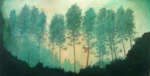 Árvores na neblina da Serra da Mantiqueira.